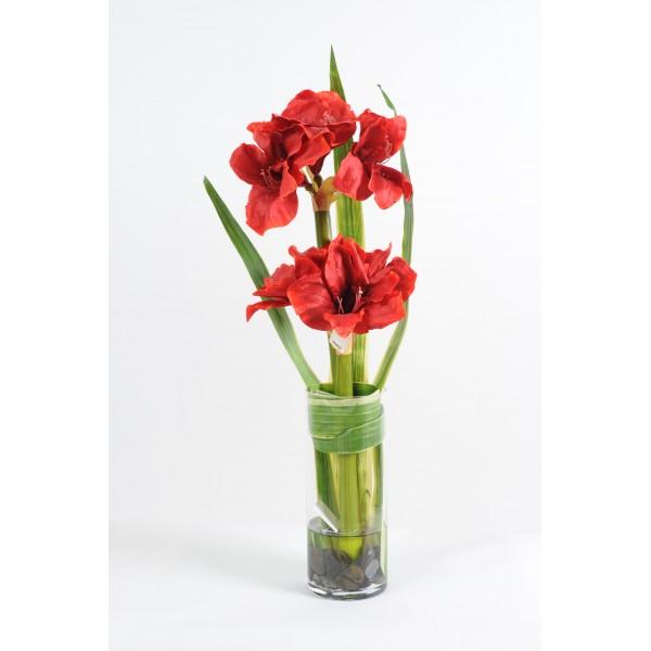 Bouquet amaryllis pandanus composition artificielle for Fleurs amaryllis bouquet