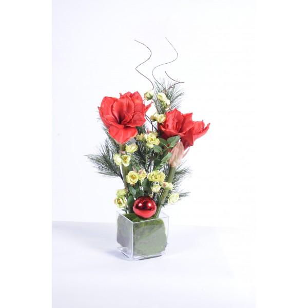 Bouquet amaryllis rouge noel composition artificielle for Fleurs amaryllis bouquet