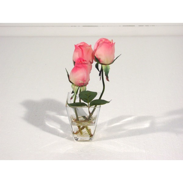 Bouquet Centre De Table Rose Bouton Lisa – Composition artificielle