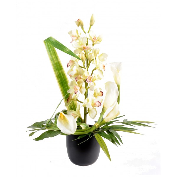 bouquet cymbidium an011 composition artificielle fleurs plantes artificielles. Black Bedroom Furniture Sets. Home Design Ideas