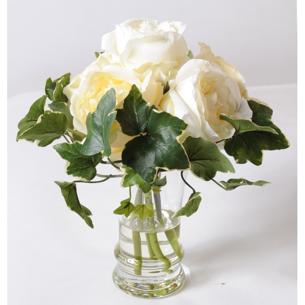Bouquet Rose Blanche – Composition artificielle